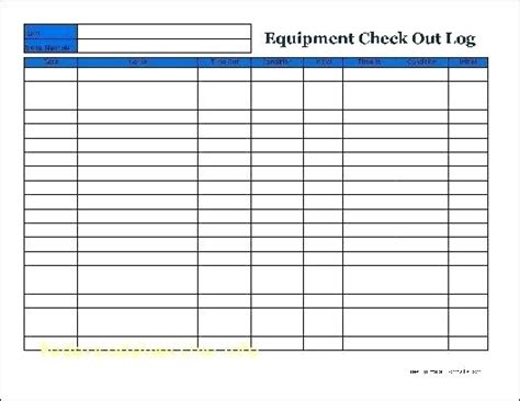 sign in and out log template login and sign out sheet template equipment checkout form