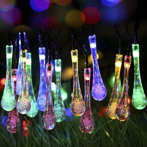 Waterdrop Shaped Colorful Solar Led Light String Led Light Strings Wholesale