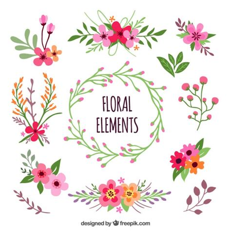 flower design element vector illustration free vector floral elements vector free download
