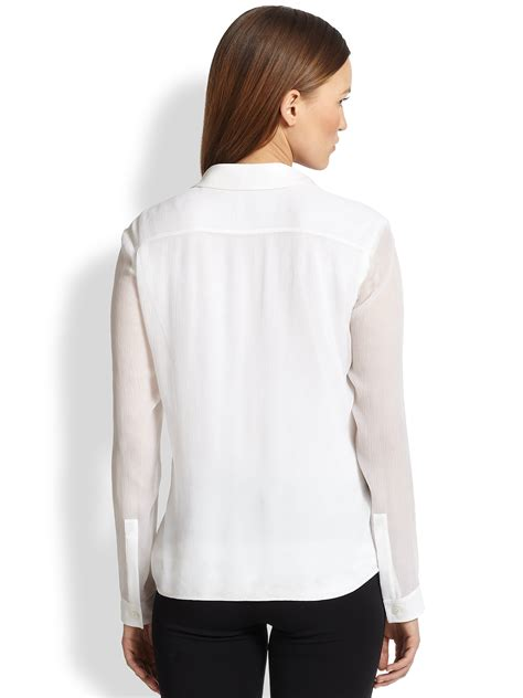 white sheer silk blouses for women burberry sheer sleeve silk blouse in white lyst