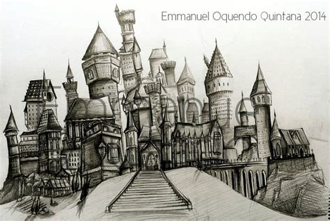 hogwarts castle sketch by emmanuel oquendo on deviantart