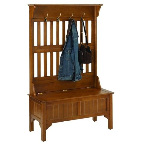 entry hall bench coat rack full hall tree in cottage oak 5649 49