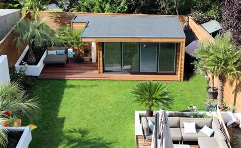 modern garden escape contemporary gardens garden modern garden studio built in central garden lodges