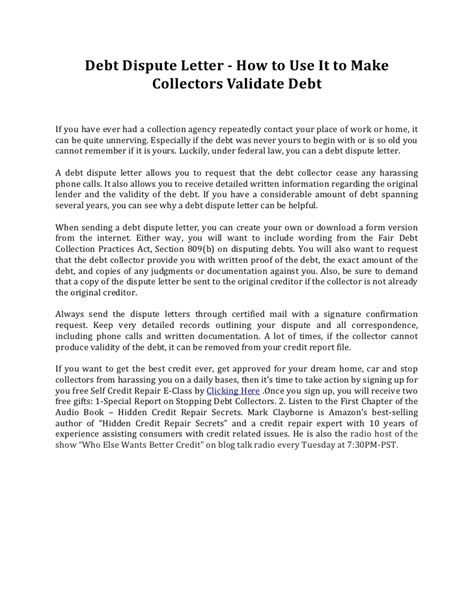 Dispute Letter Account Not Mine Debt Dispute Letter How To Use It To Make Collectors Validate Debt