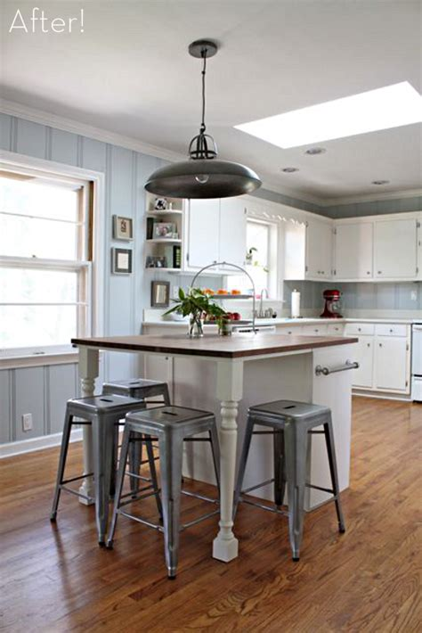 building a kitchen island with seating before after a diy kitchen island makeover 187 curbly