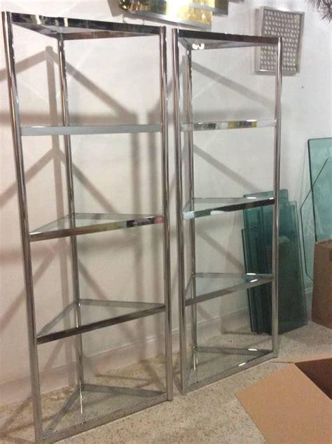 etagere 8 cases but milo baughman vintage pair of chrome etageres shelves