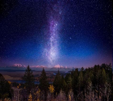 nature mountain forest snowy peak milky  space