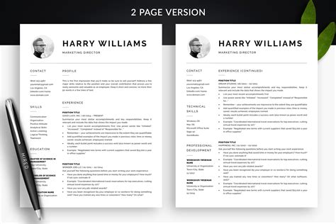 Clean Resume Template Cover Letter Template Quot Harry Quot Bonus 2 Page Cv Template