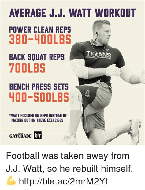 jj watt max bench average jj watt workout power clean reps 380 loolbs texans