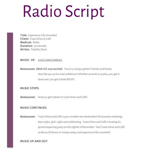 radio script template radio