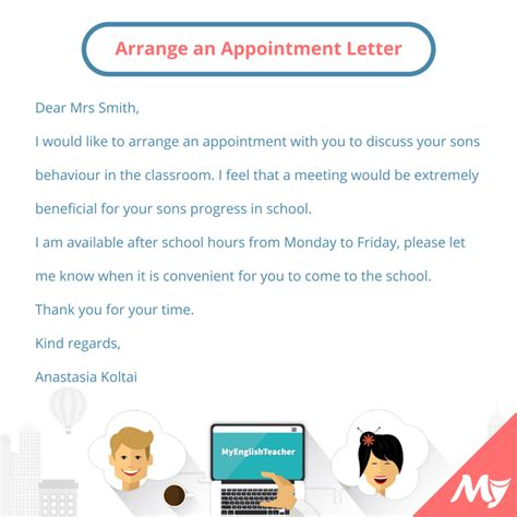 thanking letter for arranging what should i write to arrange an appointment with someone