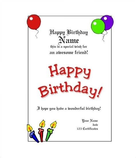 Customizable Gift Card Template by Free Customizable Birthday Gift Certificate Template