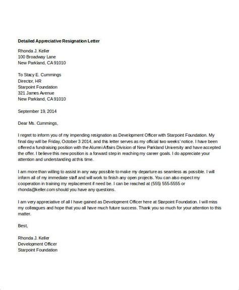 Resignation Letter Format In Word South Africa 8 Appreciative Resignation Letters Free Sle Exle Format Free Premium