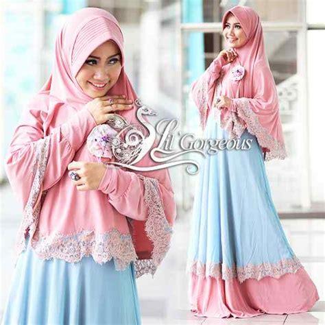 Ready Bergo Kurnia Biru Baju Muslim Wanita renda pink biru muda baju muslim gamis modern