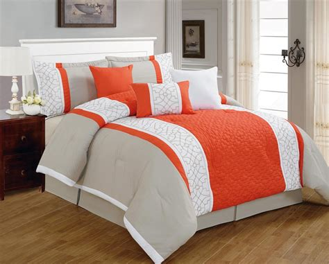 Orange Bedding Sets Minimalist Coral Oarneg Grey Comforter With 8 Polyester Comforter With Trallis Pattern