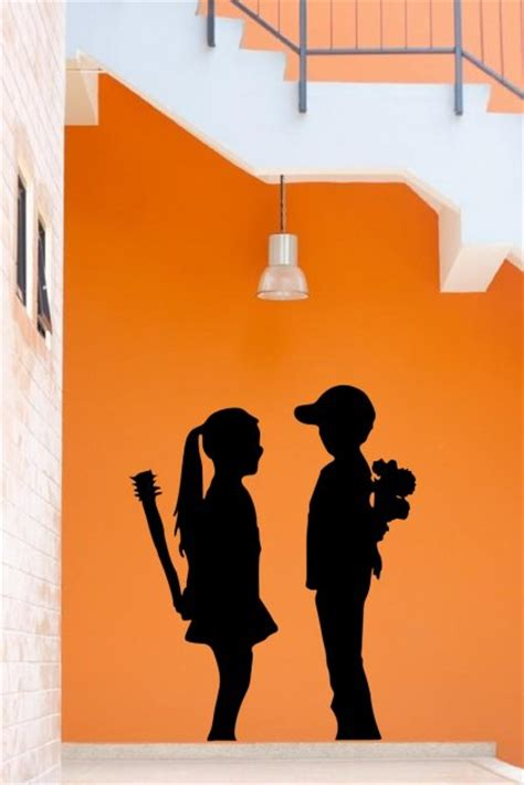 banksy boy meets girl  large wall stickers store uk