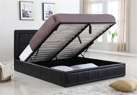 lift bed new pu leather queen size gas lift storage bed ebay