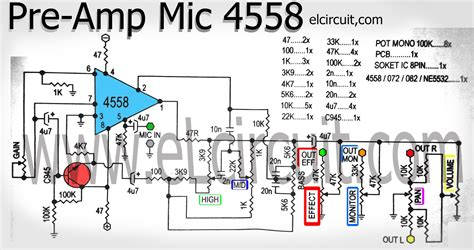 Pcb Tone Stereo Tr Plus Subwoofer Jrc4558 mic pre lifier using ic 4558 electronic circuit