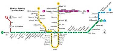 Toronto Metro Map by Here S How Long It Would Take To Run Between Toronto