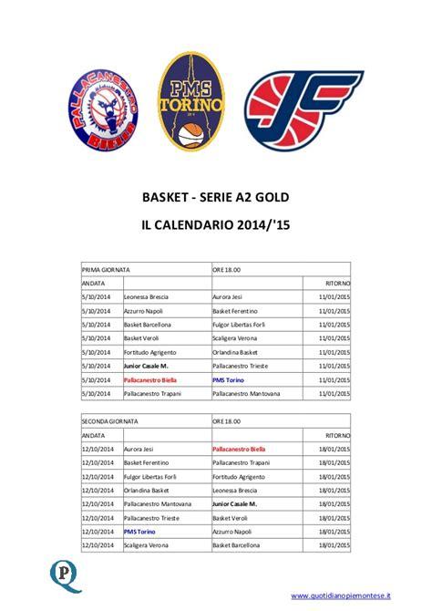 Calendario Basket Serie A2 2014 Calendario Serie A2 Gold 2014 2015