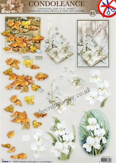 Die Cut Decoupage Sheets - condolence die cut 3d decoupage sheet