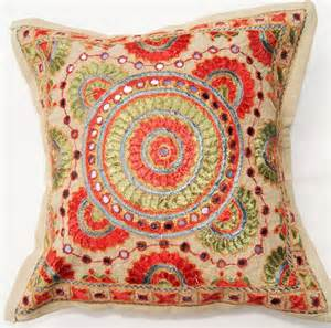 Traditional Cushions Traditional Indian Embroidered Cushion Cover Traditional