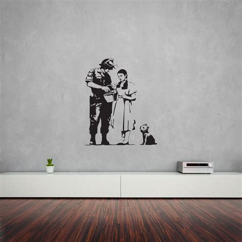 banksy wall stickers uk banksy oz stop and search wall decal vinyl revolution