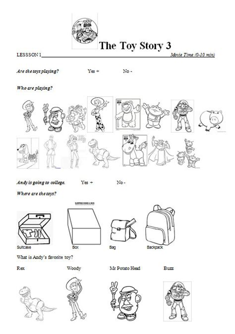 toy story printable activity sheets movie worksheet toy story 3 lesson 1