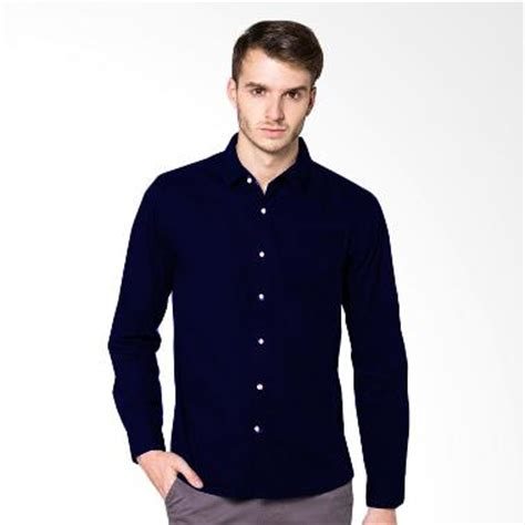 Kemeja Lesly Salur Hitam Navy jual baju atasan formal pria terbaru harga murah blibli
