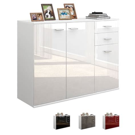 kommode sideboard cabinet sideboard cupboard buffet v3 white matt high