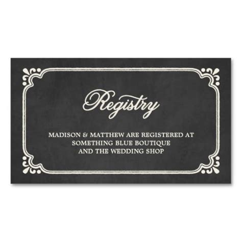Registry Card Template by Chalkboard Union Wedding Registry Card