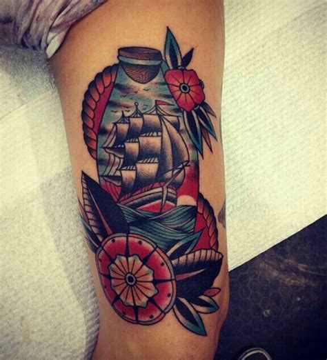 bobby bones tattoo traditional ship in a bottle tattoos