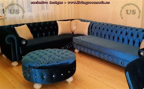 blue velvet l shaped sofa navy blue velvet chesterfield sofa large l shaped