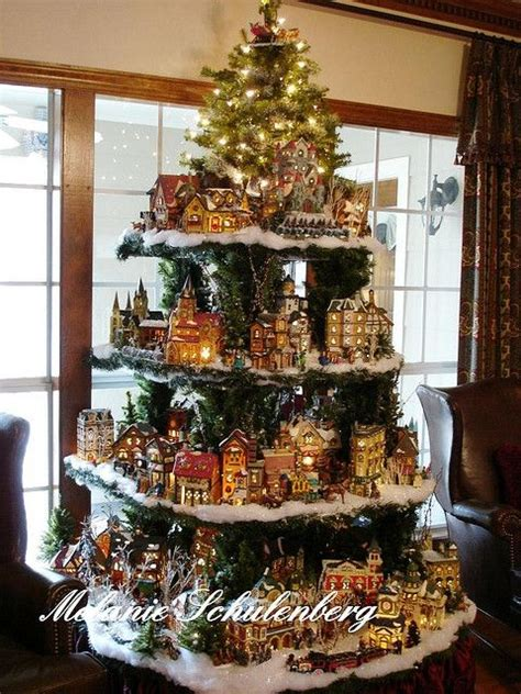 images of christmas village displays shelves in shape of christmas tree to display christmas