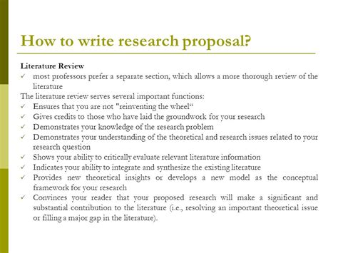 how to write a research paper in literature research literature review section
