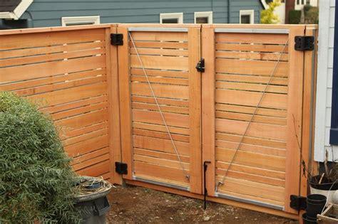 double door gate horizontal wood fence  alternating