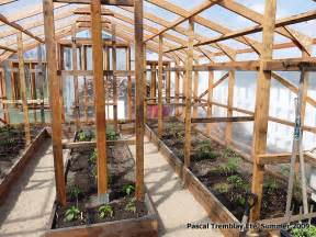 greenhouse wooden planter boxes and soil sink potting