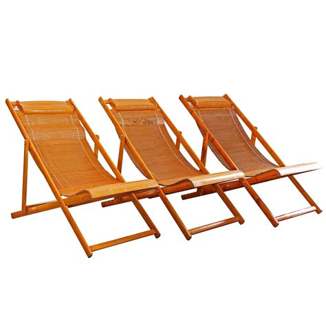 Lounge Chairs For Deck by Vintage Bamboo Wood Japanese Deck Chairs Outdoor Fold Up