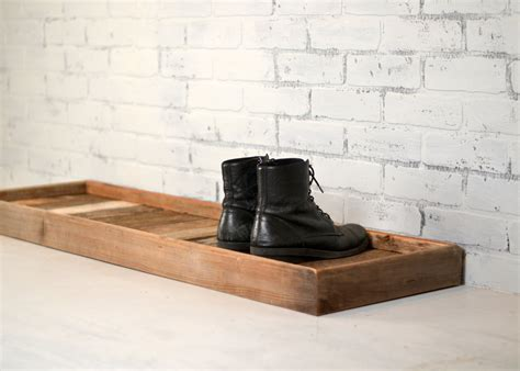 boot and shoe boot tray made from reclaimed wood shoe storage entryway