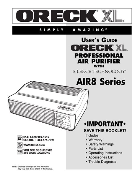 oreck xl рrofessional air purifier air8 series user manual 8 pages