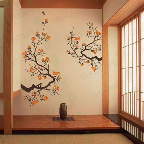 Japanese Cherry Blossom Home Decor Large Japanese Cherry Blossoms Tree Branches Wall Decal Vinyl Sticker Home Decor Sur Etsy