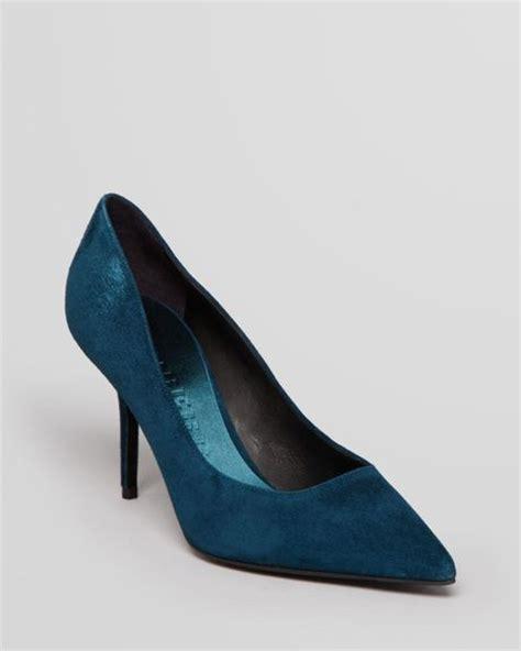 teal high heels burberry pointed toe pumps watford high heel in blue