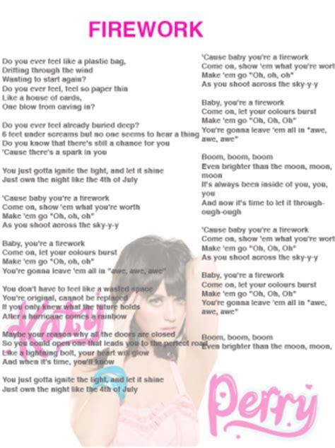 printable lyrics katy perry songs firework song