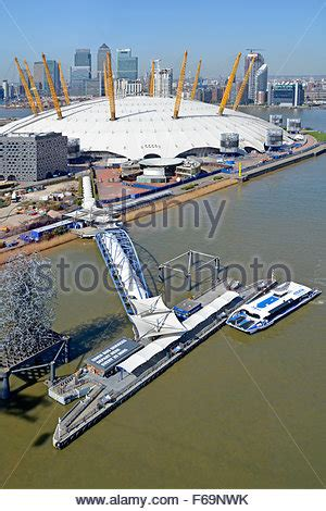 thames clipper to the 02 aerial view of north greenwich pier peninsula with