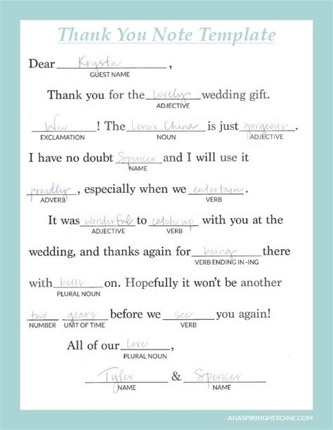 Writing Personalized Wedding Thank You Notes Weddings Bookish Charm Wedding Thank You Wedding Thank You Note Template