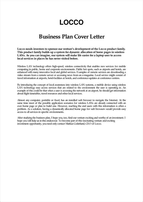 business plan cover letter cover letter format in business