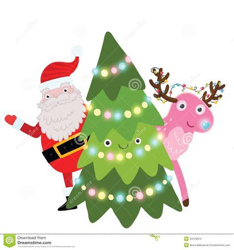 arboles de naviadad con santa clous 193 rbol de navidad con santa claus y los ciervos imagenes de archivo imagen 34123914