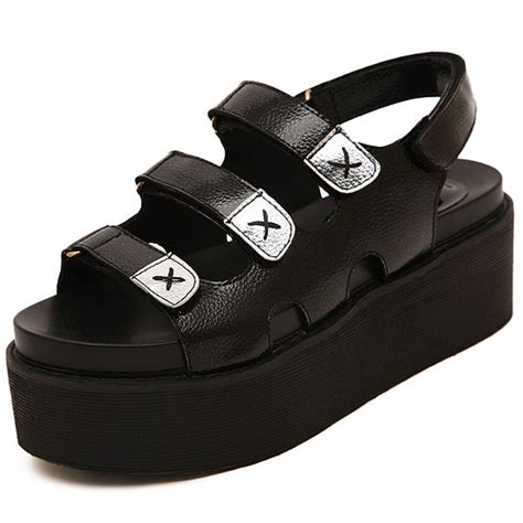 cheap fashion platform wedge high heel black pu basic