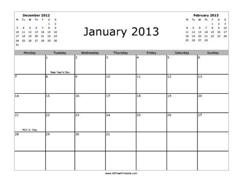 January 2013 Calendar January 2013 Calendar Free Printable Allfreeprintable