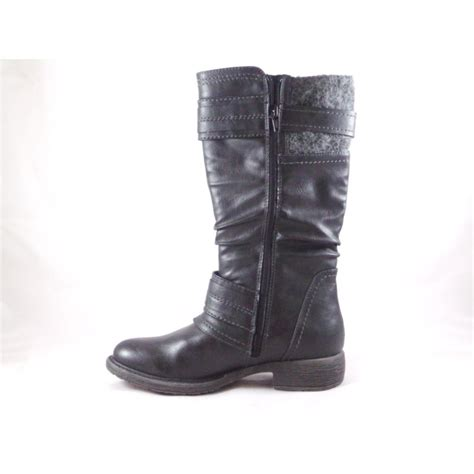 black leather knee high casual boot from